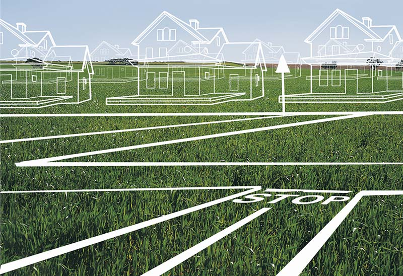 House and town plans on lawn